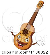 Clipart Happy Guitar Instrument Character Royalty Free Vector Illustration