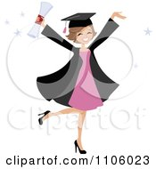 Clipart Happy College Graduate Woman Holding Her Arms Up And Her Degree Royalty Free Vector Illustration