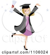 Happy Blond College Graduate Woman Holding Her Arms Up And Her Degree