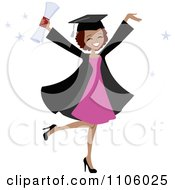 Clipart Happy Black College Graduate Woman Holding Her Arms Up And Her Degree Royalty Free Vector Illustration