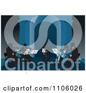Clipart Silhouetted Musicians Playing Violins Violas Cello And A Trumpet In Blue Tones Royalty Free Vector Illustration by David Rey