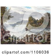 Two Goats Near American Falls Niagara Falls From Goat Island Royalty Free Historical Stock Illustration