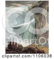 A Man At The Ledge Of A Cliff Looking Down At Other People At Niagara Falls Royalty Free Historical Stock Illustration