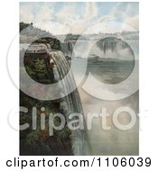 Tourists At The Top Of Niagara Falls Viewing The Maid Of The Mist Royalty Free Historical Stock Illustration by JVPD