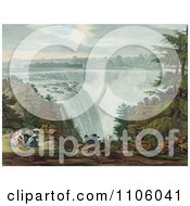 A Man And Three Ladies Picnicking At Goat Island By The American Falls Niagara Falls Royalty Free Historical Stock Illustration