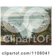 Man And Three Ladies Picnicking At Goat Island By The American Falls Niagara Falls
