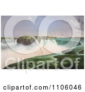 Rainbow Over The Mist Of Niagara Falls From The Canadian Side Royalty Free Historical Stock Illustration
