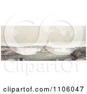 Three Men On Shore Viewing Niagara Falls Royalty Free Historical Stock Illustration