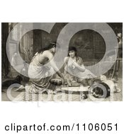 Sepia Toned Scene Of Two Young Women Feeding Kittens And Cats Around A Large Saucer