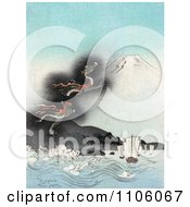 Dragon Rising To The Top Of Mt Fuji Causing Strong Waves To Flow Towards Ships Royalty Free Historical Stock Illustration by JVPD