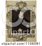 Portrait Of Christopher Columbus Seated With An Intricate Frame An Engraving By Dawson C 1892 Royalty Free Historical Stock Illustration