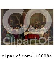 Christopher Columbus Standing And Pointing While Presenting His Request To Queen Isabella I And King Ferdinand V And Curious Gathering Courtiers At The Royal Court Of Spain Royalty Free Historical Stock Illustration by JVPD