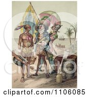 Christopher Columbus Speaking To A Native Man During The Landing Of Columbus At San Salvador In 1492 Royalty Free Historical Stock Illustration by JVPD