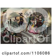Christopher Columbus Pointing And Preparing To Get Into A Rowboat To Board Onto His Ship As People Watch During The Departure Of Columbus Royalty Free Historical Stock Illustration by JVPD