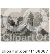 Christopher Columbus In Chains Returning To Cadiz Spain As People Kneel And Throw Themselves At His Feet Royalty Free Historical Stock Illustration by JVPD