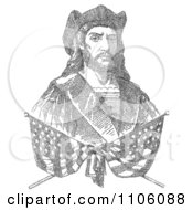 Two Crossed Flags Over A Bust Portrait Of Christopher Columbus Which Is Composed Of 41819 Letters Representing The Biography Of Columbus Royalty Free Historical Stock Illustration