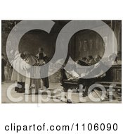 Portrait Of Christopher Columbus Being Sneered At In The Council Of Salamanca Spain With Maps Scatterd On The Floor Royalty Free Historical Stock Illustration