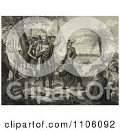 Curious Natives Watching A Man Kneeling And Bowing To Christopher Columbus And His Men Upon Landing In The New World Royalty Free Historical Stock Illustration by JVPD