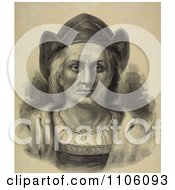 Portrait Of Christopher Columbus Facing Front And Wearing A Hat Royalty Free Historical Stock Illustration