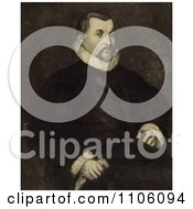 Portrait Of A Portrait Of Christopher Columbus Seated In A Chair With His Body Slightly To The Right And His Head Looking Towards The Viewer Royalty Free Historical Stock Illustration by JVPD