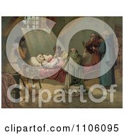 Men In Prayer Standing Around Christopher Columbus At His Death Royalty Free Historical Stock Illustration by JVPD