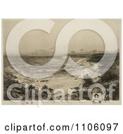 Grassy Shore The First Landing Place Of Christopher Columbus San Salvador Marie Galante Or Canary Island Royalty Free Historical Stock Illustration by JVPD