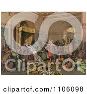 Christopher Columbus With Natives From The New World Standing Proudly Before The King And Queen Of Spain King Ferdinand And Queen Isabella At The Court Of Barcelona Spain In February Of 1493 Royalty Free Historical Stock Illustration by JVPD
