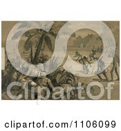 Christopher Columbus And His Crew Men Hiding Behind Bushes Under A Palm Tree And Watching Indigenous Native Men Playing What Appears To Be Baseball Upon The First Landing In The New World At San Salvador Royalty Free Historical Stock Illustration