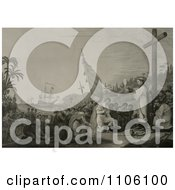 Christopher Columbus And His Crew Men Kneeling In Front Of A Priest During A Religious Service At A Large Cross During The First Landing In The New World Royalty Free Historical Stock Illustration