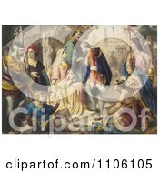 Christopher Columbus Being Greeted By King Ferdinand And Queen Isabella Royalty Free Historical Stock Illustration
