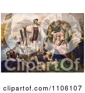 Christoper Columbus And His Crew Leaving The Port Of Palos Spain