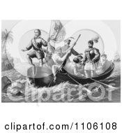 The Landing Of Columbus At San Salvador Royalty Free Historical Stock Illustration