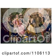 Christopher Columbus Kneeling In Front Of Queen Isabella I And King Ferdinand V Royalty Free Historical Stock Illustration