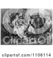 Christopher Columbus Kneeling In Front Of Queen Isabella I Bla Royalty Free Historical Stock Illustration