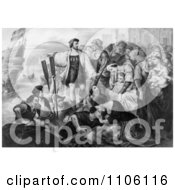 Christoper Columbus And His Crew Leaving The Port Of Palos Spai Royalty Free Historical Stock Illustration