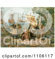 Columbus Taking Possession Of The New Country Royalty Free Historical Stock Illustration