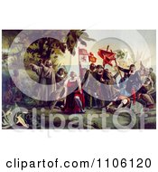 The First Landing Of Columbus On The Shores Of The New World Royalty Free Historical Stock Illustration