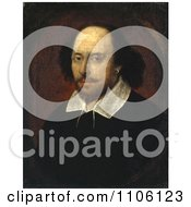 Painted Color Portrait Of William Shakespeare The Playwright And Poet In The Chandos Portrait Royalty Free Historical Stock Illustration by JVPD