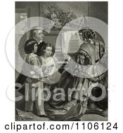 Three Children Singing The Star Spangled Banner With A Woman Who Is Playing A Piano Royalty Free Historical Stock Illustration