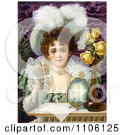 Vintage Advertisement Of An Elegant Woman Drinking From A Cup Royalty Free Historical Stock Illustration