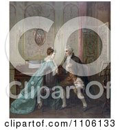 Man Proposing Marriage To A Woman While Sitting At A Piano Royalty Free Historical Stock Illustration