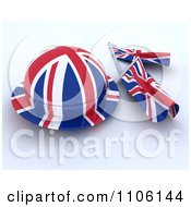 Clipart 3d Union Jack Jubilee Hat And Small Flags Royalty Free Vector Illustration
