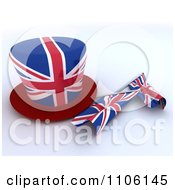 Clipart 3d Union Jack Jubilee Top Hat And Small Flags Royalty Free Vector Illustration
