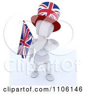 Clipart 3d Union Jack Jubilee British White Character With A Top Hat And Flag Royalty Free Vector Illustration