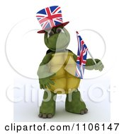 3d Union Jack Jubilee British Tortoise With A Top Hat And Small Flag