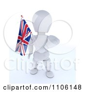 Clipart 3d Union Jack Jubilee British White Character Waving A Flag Royalty Free Vector Illustration
