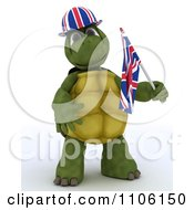 3d Union Jack Jubilee British Tortoise With A Hat And Small Flag