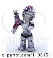 Clipart 3d Union Jack Jubilee Robot With A Hat And Flag Royalty Free Vector Illustration