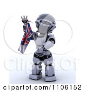 Clipart 3d Union Jack Jubilee Robot Waving And Holding A Flag Royalty Free Vector Illustration