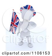 Clipart 3d Union Jack Jubilee British White Character With A Hat And Flag Royalty Free Vector Illustration